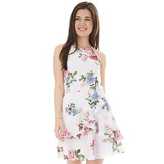 50109a79c004 Juniors  IZ Byer Cutaway Halter Double Ruffle Dress