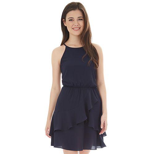 3239b6f8d78 Juniors  IZ Byer Cutaway Halter Flounce Dress