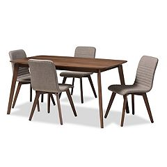 Baxton Studio Mid-Century Textured Upholstered Chair & Table Dining 5-piece Set