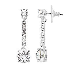 Dana Buchman Silver Tone Swarovski Crystal Linear Drop Earrings