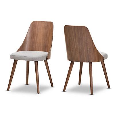 Baxton Studio Mid-Century Gray Dining Chair 2-piece Set