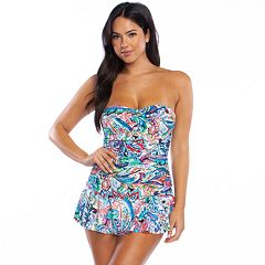 b033938865 Women's Chaps Tummy Slimmer Ruched One-Piece Swimdress