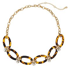 Gold Tone Chain Acetate Oval & Simulated Crystal Detail Collar Necklace