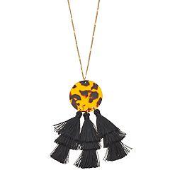 Gold Tone Acetate Disc Tassel Detail Pendant Necklace