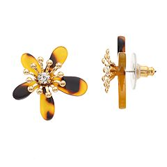 Gold Tone Simulated Stone Acetate Flower Motif Button Stud Earrings