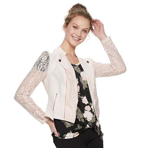 Juniors' Candie's® Lace Moto Jacket
