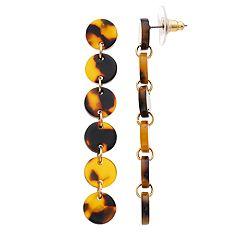 Gold Tone Acetate Disc Linear Drop Earrings