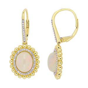 Stella Grace 14K Gold 1/4ct Diamond & Ethiopian Opal Leverback Earrings