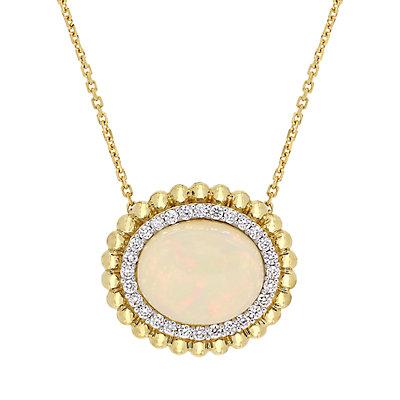 Stella Grace 14K 1/4-ct Diamond & Ethiopian Opal Necklace