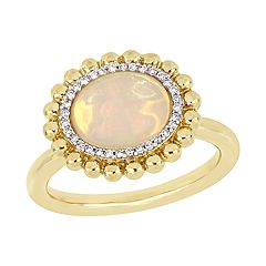 Stella Grace 14K Gold 1/10-ct. Diamond & Opal Ring