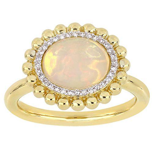 Stella Grace 14K Gold 1/10-ct. Diamond & Opal Ring