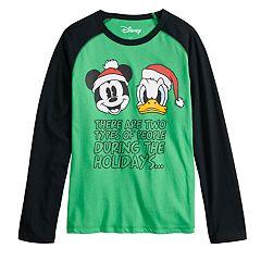 Boys 8-20 Mickey Mouse & Donald Duck Christmas Raglan Tee