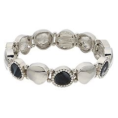 Silver Tone Simulated Stone & Acetate Stretch Bracelet