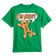"Boys 8-20 Gingerbread Man ""Oh Snap"" Tee"