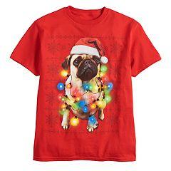 Boys 8-20 Pug Christmas Tee