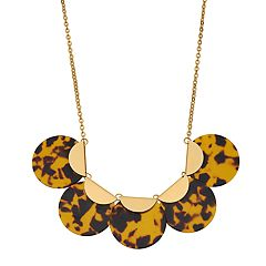 Gold Tone Half Moon Acetate Disc Statement Necklace