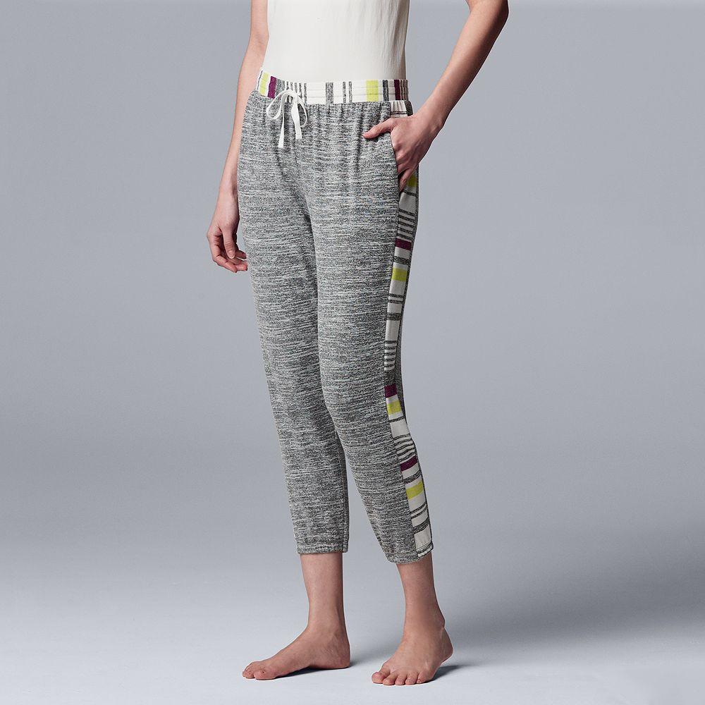 Women's Simply Vera Vera Wang Marled Banded-Bottom Pajama Pants