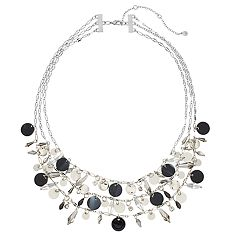 Silver Tone & Acetate Charm Detail Multi Strand Necklace