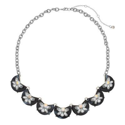 TREND Silver Tone Chain  Acetate Half Circle Simulated Crystal Collar Necklace