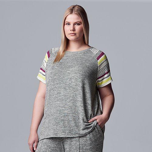 Plus Size Simply Vera Vera Wang Marled Jersey Pajama Top