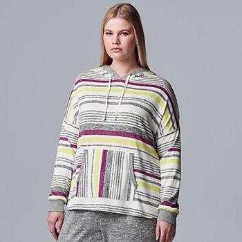 Plus Size Simply Vera Vera Wang Hooded Marled Pajama Top