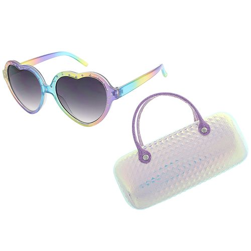 Girls Elli by Capelli Heart Sunglasses with Holographic Case