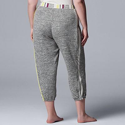 Plus Size Simply Vera Vera Wang Marled Banded-Bottom Pajama Pants