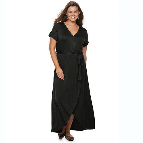 Juniors\' Plus Size SO® Faux Wrap Maxi Dress