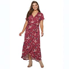 Juniors' Plus Size SO® Faux Wrap Maxi Dress