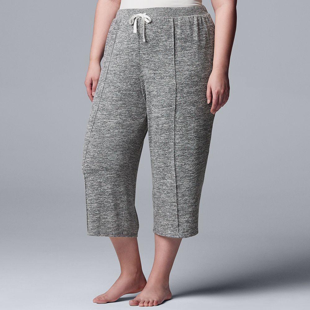 Plus Size Simply Vera Vera Wang Marled Pajama Culottes