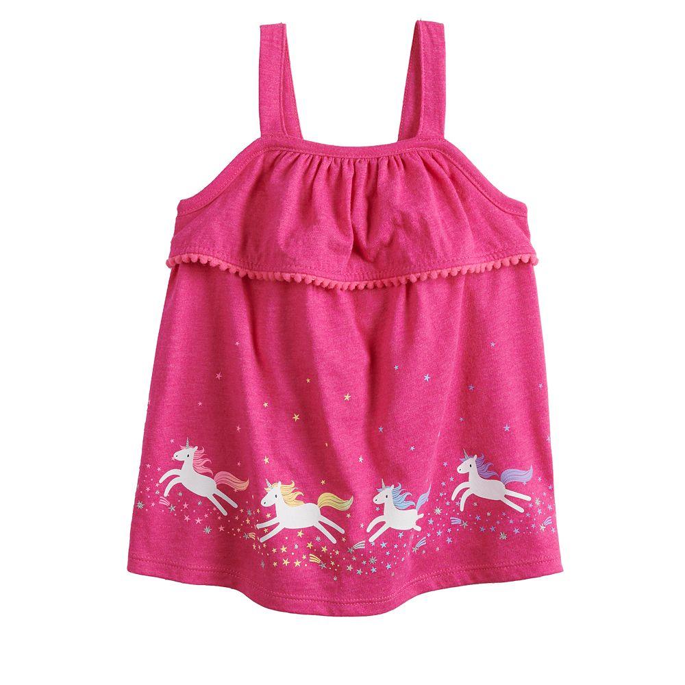 Toddler Girl Jumping Beans® Print Pom-Trim Tank Top