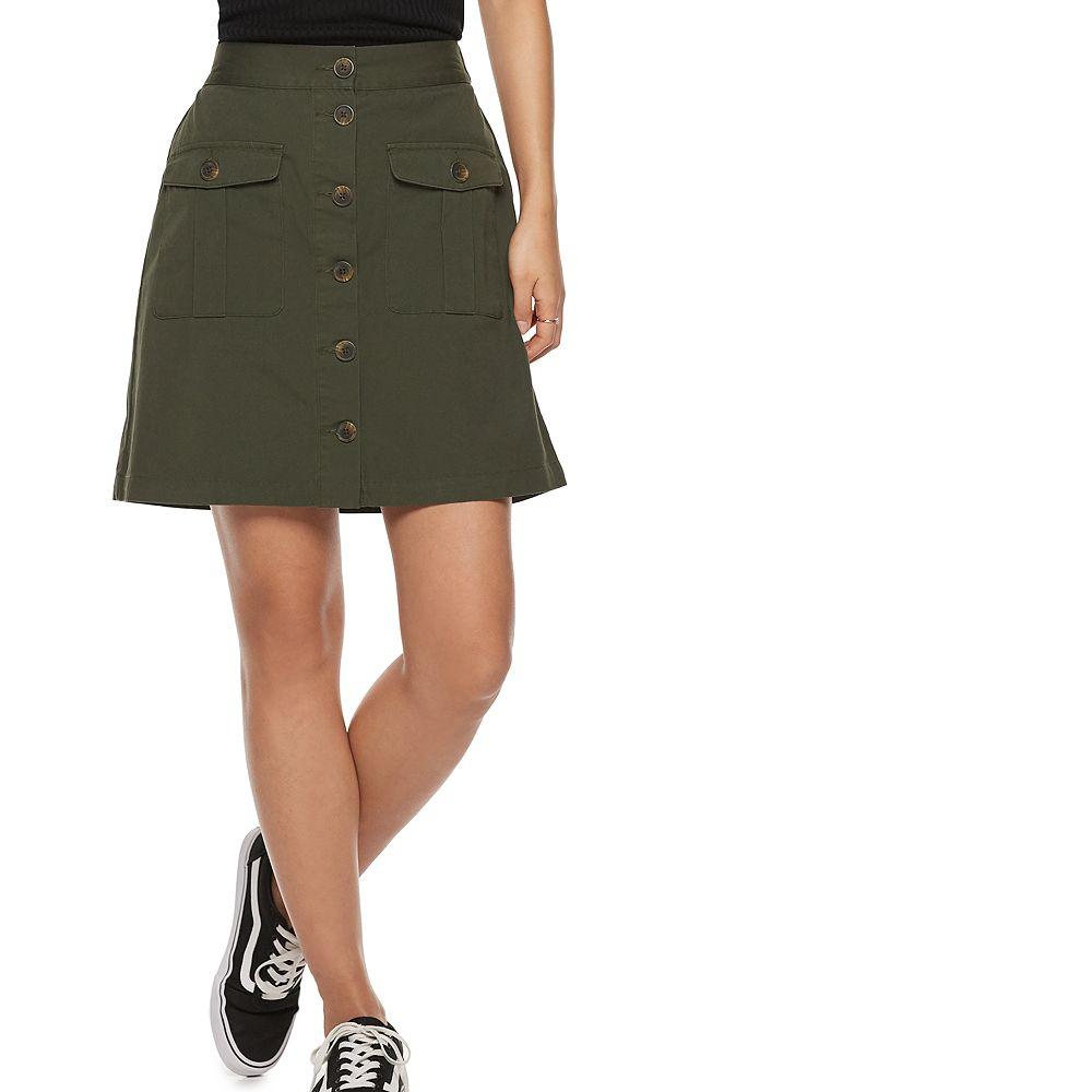 Women's POPSUGAR Patch-Pocket Jean Skirt