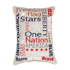 Thro by Marlo Lorenz Patriotic Typography Faux Linen Throw Pillow
