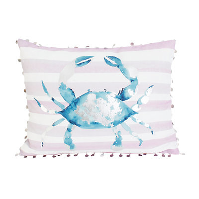 Thro by Marlo Lorenz Blue and Purple Tulum Crab Throw Pillow