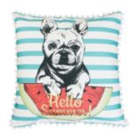 Thro by Marlo Lorenz Aqua Franco French Bulldog Throw Pillow