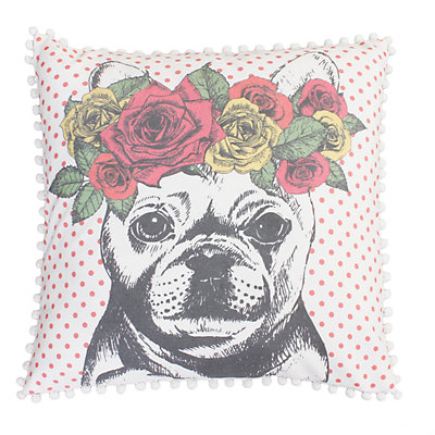Thro by Marlo Lorenz Coral Bella French Bulldog Throw Pillow