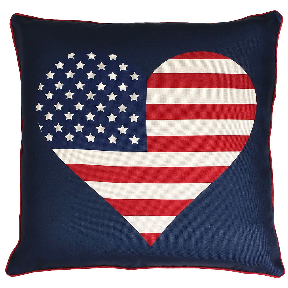 Thro by Marlo Lorenz Heart Flag Reversible Plaid Throw Pillow