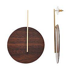 Gold Tone Wood Circular Post Drop Earrings