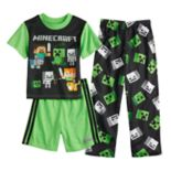 Boys 6-12 Minecraft Creeper 3-Piece Pajama Set