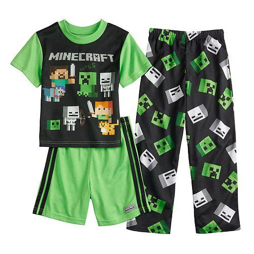 Boys 6-12 Minecraft Creeper 3-Piece Pajama Set