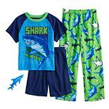 Boys 4-12 Up-Late Shark Hunter 3-Piece Pajama Sett