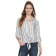 Women's Jennifer Lopez Tie-Hem Button Down Top