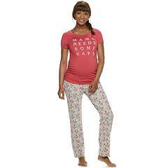 Maternity a glow Short Sleeve Tee   Pants Pajama Set 13c320275