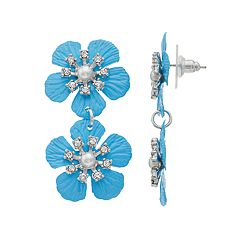 Silver Tone Simulated Stone & Pearl Blue Flower Motif Linear Drop Earrings