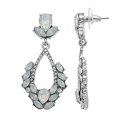 Silver Tone Simulated Stone & Crystal Statement Drop Earrings