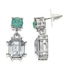 Silver Tone Blue Simulated Crystal Drop Earrings