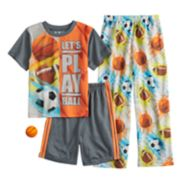 Boys 4-10 Up-Late Sports 3-Piece Pajama Set