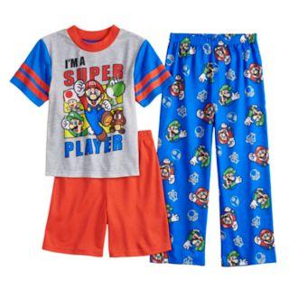 Boys 6-12 Super Mario Bros 3-Piece Pajama Set