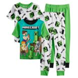 Boys 6-12 Minecraft Creeper 4-Piece Pajama Set