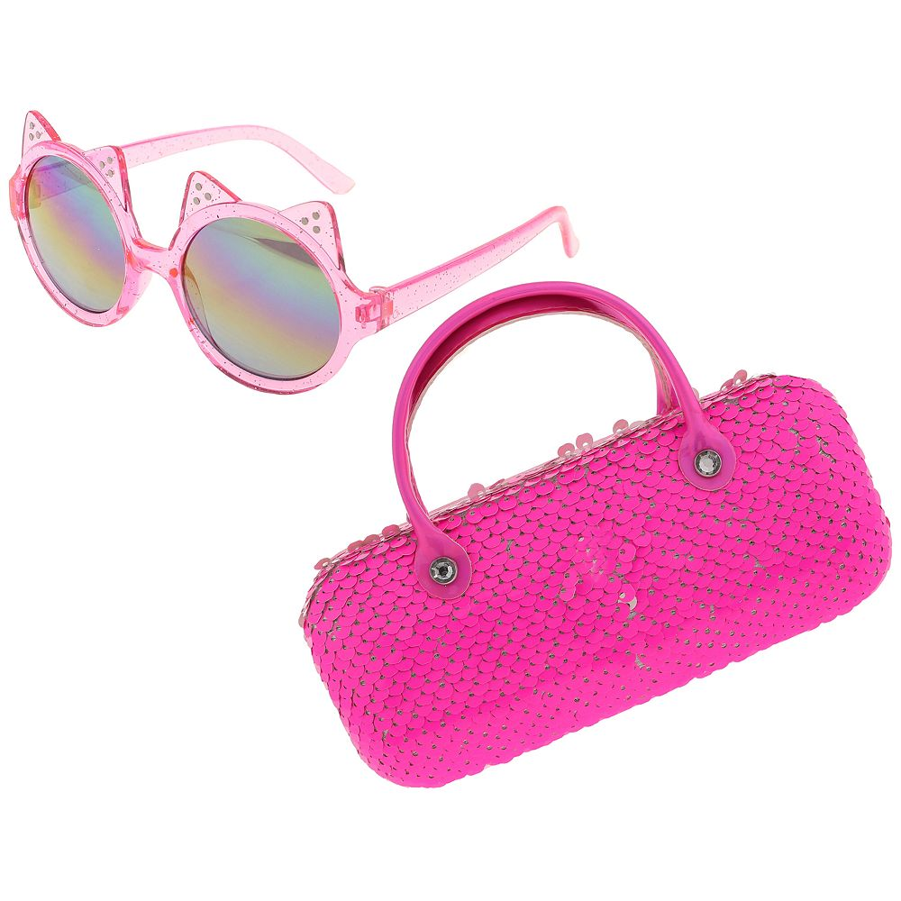 Girls Elli by Capelli Cateye Sunglasses & Flip Sequin Case Set